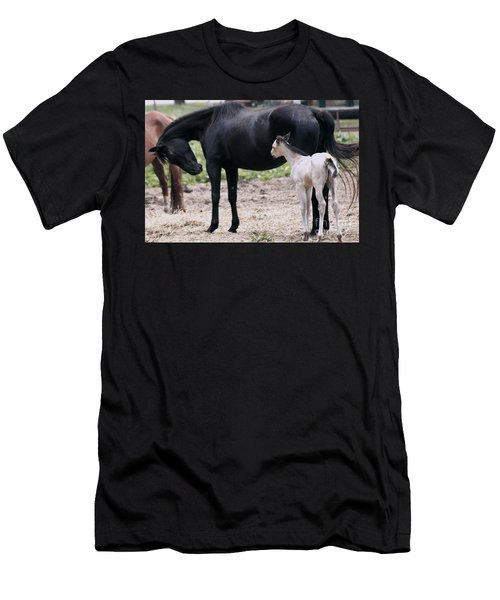 Men's T-Shirt (Slim Fit) featuring the painting Horse And Colt by Debra Crank