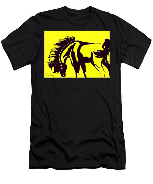 Horse-black And Yellow Men's T-Shirt (Slim Fit) by Loxi Sibley