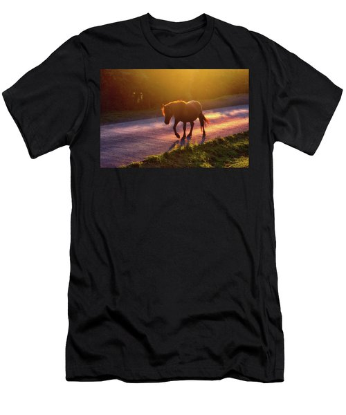 Horse Crossing The Road At Sunset Men's T-Shirt (Athletic Fit)