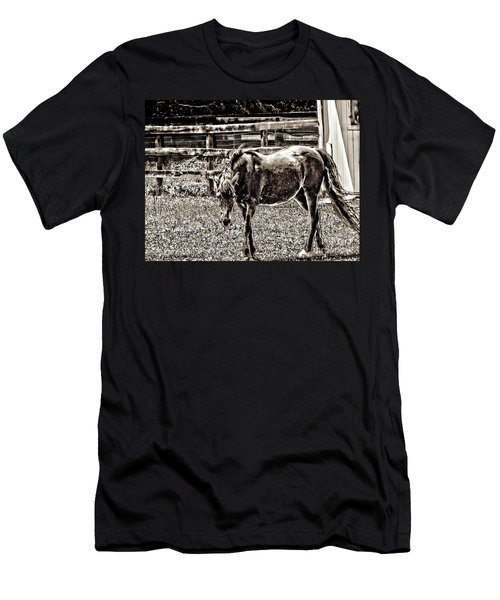 Horse In Black And White Men's T-Shirt (Slim Fit) by Annie Zeno