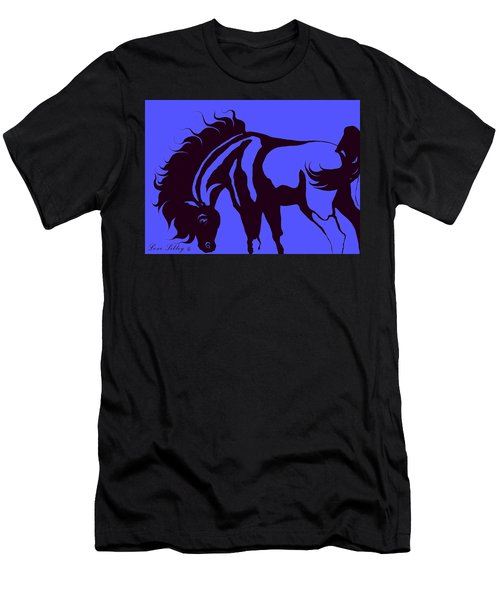 Horse In Blue And Black Men's T-Shirt (Slim Fit) by Loxi Sibley