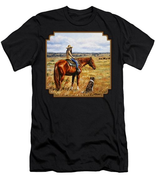 Horse Painting - Waiting For Dad Men's T-Shirt (Athletic Fit)