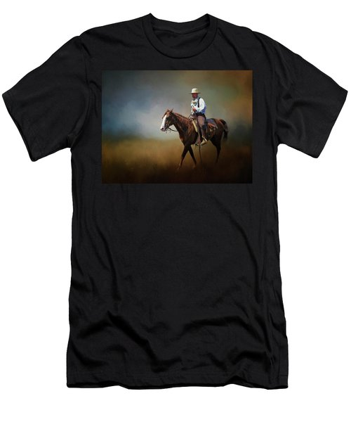 Men's T-Shirt (Slim Fit) featuring the photograph Horse Ride At The End Of Day by David and Carol Kelly