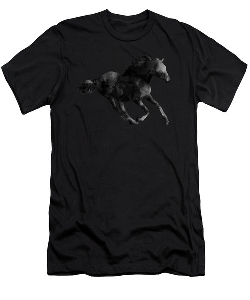 Horse Running In Black And White Men's T-Shirt (Athletic Fit)