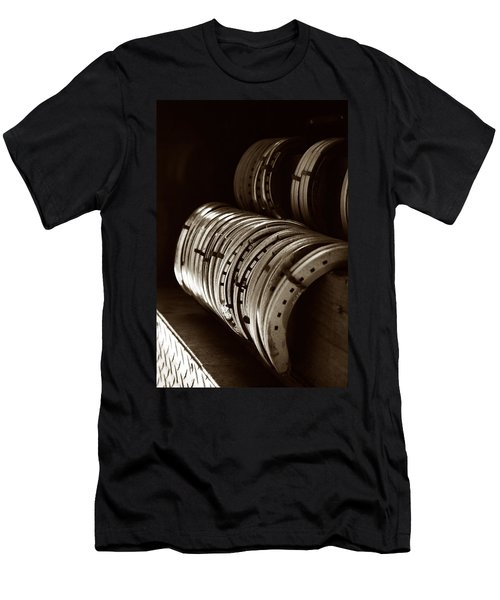 Men's T-Shirt (Slim Fit) featuring the photograph Horse Shoes In Sepia by Angela Rath