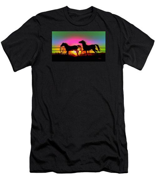 Horse Sunset Men's T-Shirt (Athletic Fit)