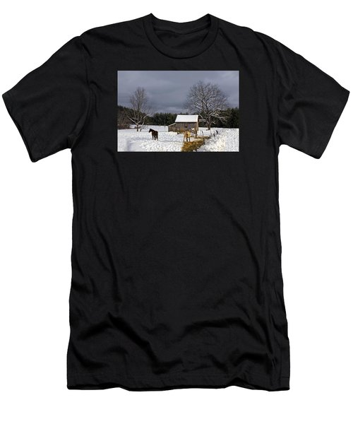 Men's T-Shirt (Athletic Fit) featuring the photograph Horses In Snow by Ken Barrett
