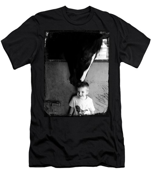 Men's T-Shirt (Slim Fit) featuring the photograph Horses Love by Amanda Eberly-Kudamik