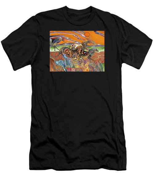 Men's T-Shirt (Slim Fit) featuring the painting Horses Of The Ardeche Valley France by Bob Coonts