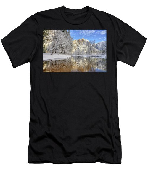 Horsetail Fall Reflections Winter Yosemite National Park Men's T-Shirt (Athletic Fit)