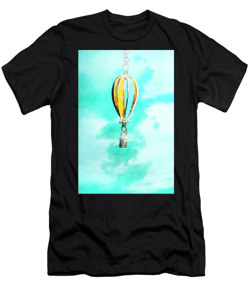 Hot Air Balloon Pendant Over Cloudy Background Men's T-Shirt (Athletic Fit)