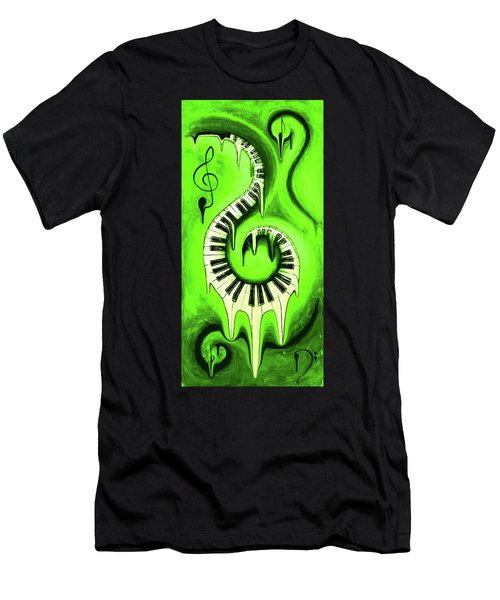 Hot Green - Swirling Piano Keys - Music In Motion Men's T-Shirt (Athletic Fit)