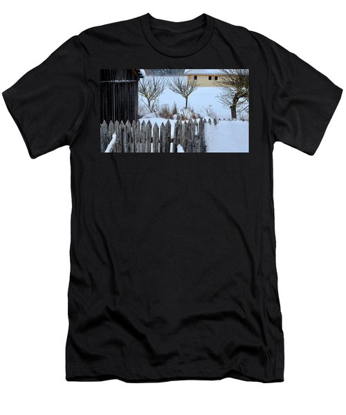 Men's T-Shirt (Athletic Fit) featuring the photograph House, Shed And Fence by August Timmermans