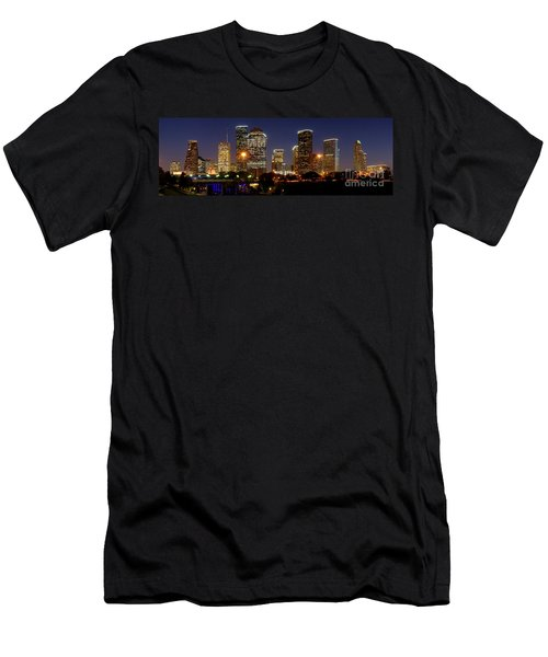 Houston Skyline At Night Men's T-Shirt (Athletic Fit)