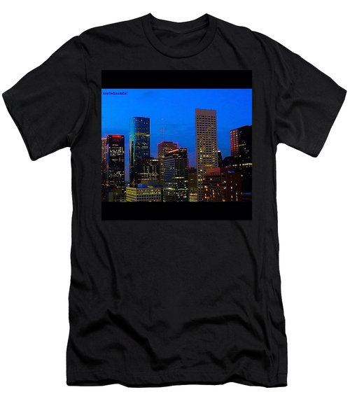 #houston #skyline At #night. #lights Men's T-Shirt (Athletic Fit)