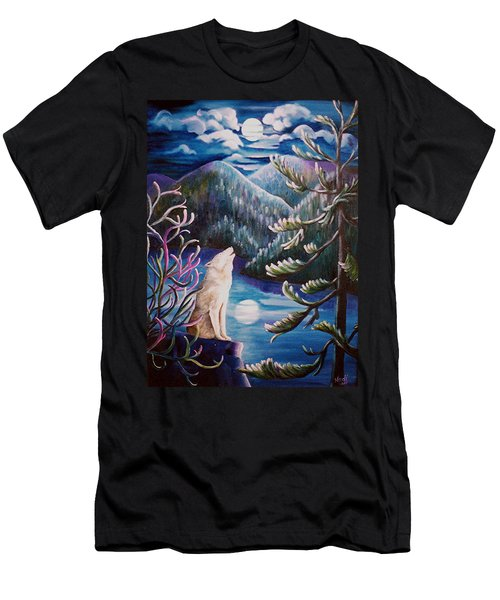 Men's T-Shirt (Slim Fit) featuring the painting Howlin' The Blues by Renate Nadi Wesley