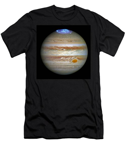 Men's T-Shirt (Slim Fit) featuring the photograph Hubble Captures Vivid Auroras In Jupiter's Atmosphere by Nasa