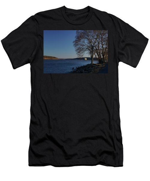 Hudson River With Lighthouse Men's T-Shirt (Athletic Fit)