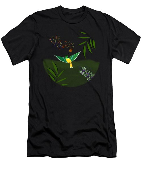 Humming Bird - Circle/clear Background Men's T-Shirt (Athletic Fit)