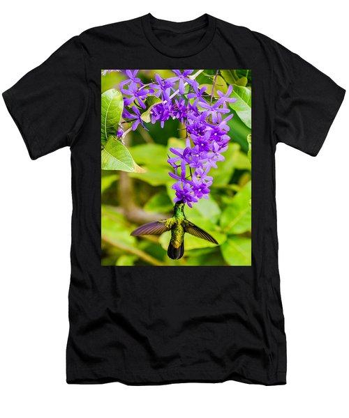 Humming Bird Flowers Men's T-Shirt (Athletic Fit)