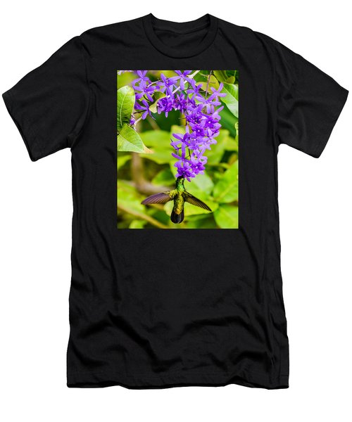 Humming Bird Flowers Men's T-Shirt (Athletic Fit)