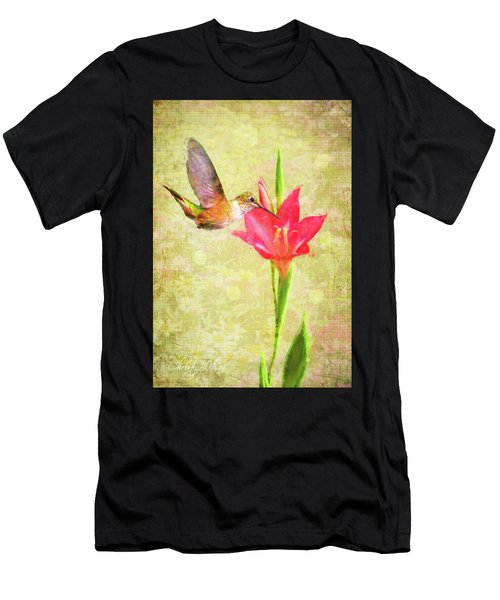 Hummingbird And Flower Men's T-Shirt (Athletic Fit)