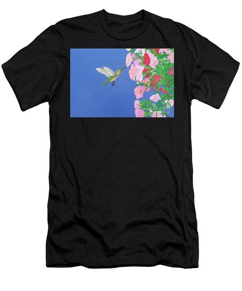 Hummingbird And Petunias Men's T-Shirt (Athletic Fit)