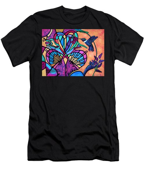 Hummingbird And Stained Glass Hearts Men's T-Shirt (Athletic Fit)
