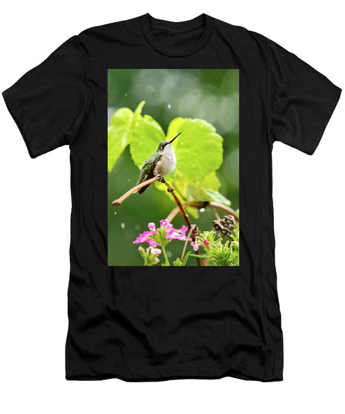 Hummingbird On Vine In The Rain Men's T-Shirt (Athletic Fit)