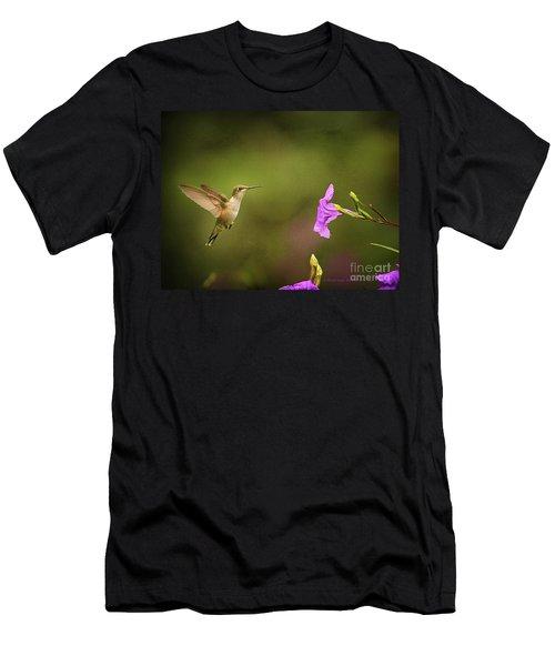 Hummingbird Pink Flower Men's T-Shirt (Athletic Fit)
