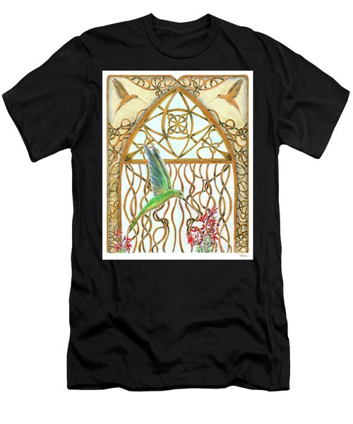 Men's T-Shirt (Athletic Fit) featuring the painting Hummingbird Sanctuary by Lise Winne