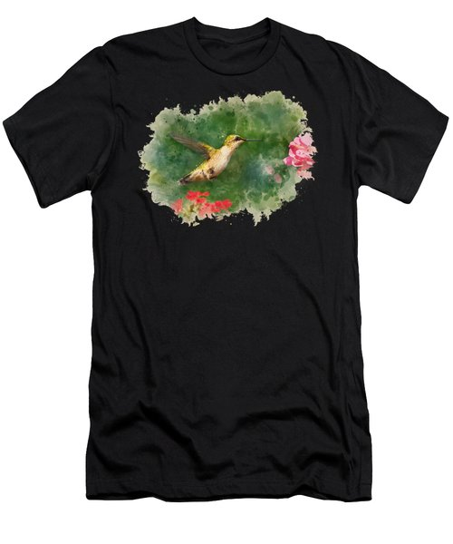 Hummingbird - Watercolor Art Men's T-Shirt (Athletic Fit)