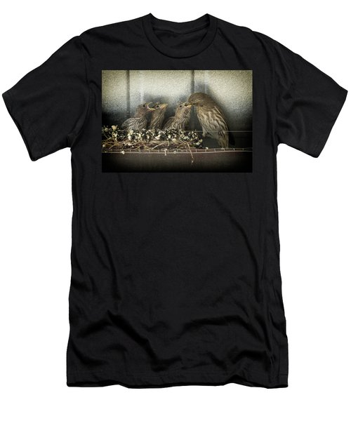 Men's T-Shirt (Slim Fit) featuring the photograph Hungry Chicks by Alan Toepfer