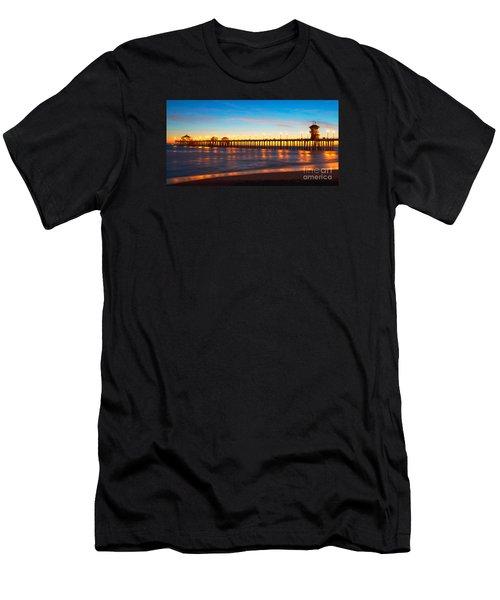 Huntington Beach Pier - Twilight Men's T-Shirt (Athletic Fit)
