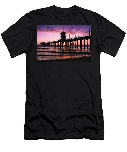 Huntington Pier At Sunset 2 Men's T-Shirt (Athletic Fit)