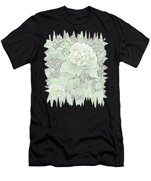 Hydrangea Pencil Sketch With Jagged Edge  Men's T-Shirt (Athletic Fit)