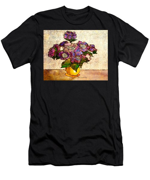 Hydrangeas In Yellow Jug Men's T-Shirt (Athletic Fit)