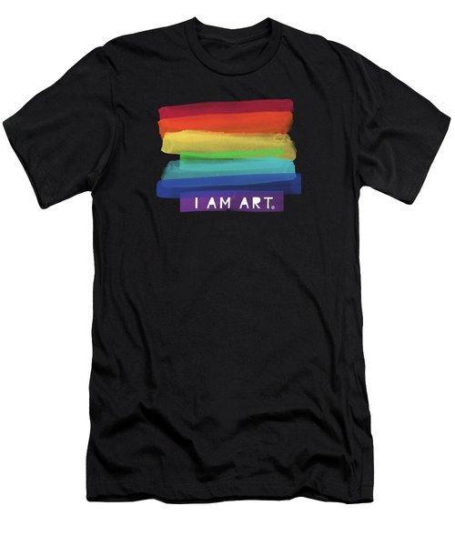 I Am Art Rainbow Stripe- Art By Linda Woods Men's T-Shirt (Athletic Fit)