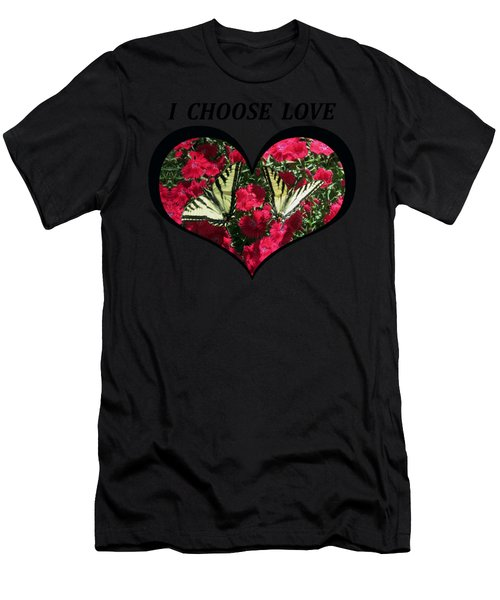 I Chose Love With A Monarch Butterfly In A Heart Men's T-Shirt (Athletic Fit)