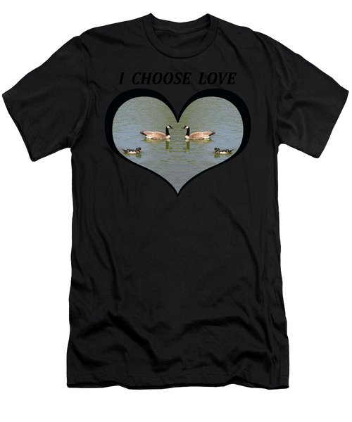 I Choose Love With A Spoonbill Duck And Geese On A Pond In A Heart Men's T-Shirt (Athletic Fit)