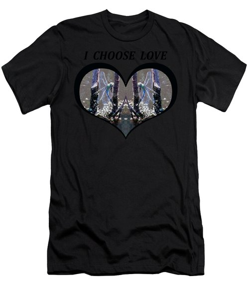I Choose Love With Blue Dragonflies On A Branch In A Heart Men's T-Shirt (Athletic Fit)