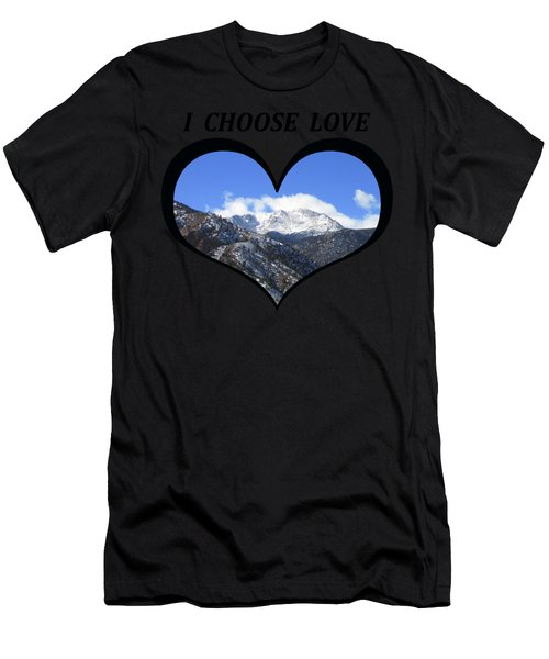 I Choose Love With Pikes Peak And Manitou Incline In A Heart Men's T-Shirt (Athletic Fit)