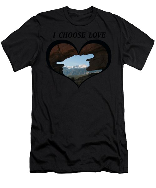 I Choose Love With Pikes Peak Viewed Through A Keyhole In A Heart Men's T-Shirt (Athletic Fit)