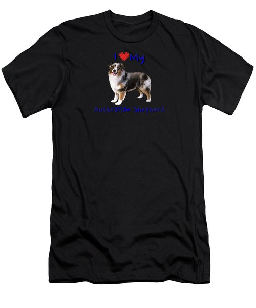 Men's T-Shirt (Athletic Fit) featuring the digital art I Heart My Australian Shepherd by Becky Herrera