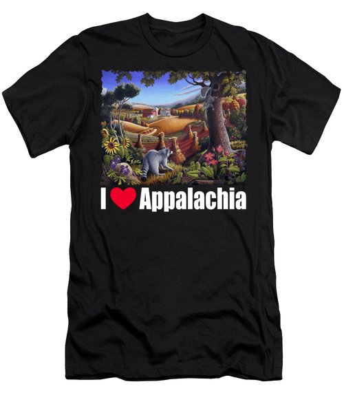I Love Appalachia T Shirt - Coon Gap Holler 2 - Country Farm Landscape Men's T-Shirt (Slim Fit) by Walt Curlee