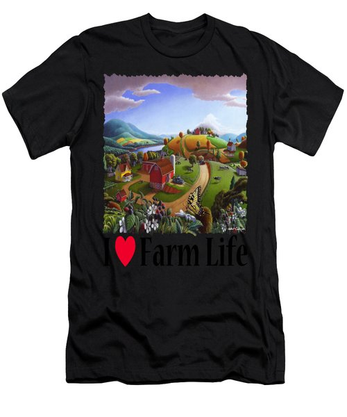 I Love Farm Life - Appalachian Blackberry Patch - Rural Farm Landscape Men's T-Shirt (Athletic Fit)