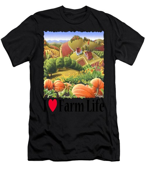 I Love Farm Life - Appalachian Pumpkin Patch - Rural Farm Landscape Men's T-Shirt (Athletic Fit)