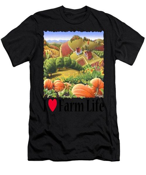 I Love Farm Life - Appalachian Pumpkin Patch - Rural Farm Landscape Men's T-Shirt (Athletic Fit)