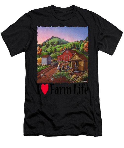 I Love Farm Life - Farmers Shucking Corn - Corncrib - Corn Crib - Farm Landscape 2 Men's T-Shirt (Athletic Fit)