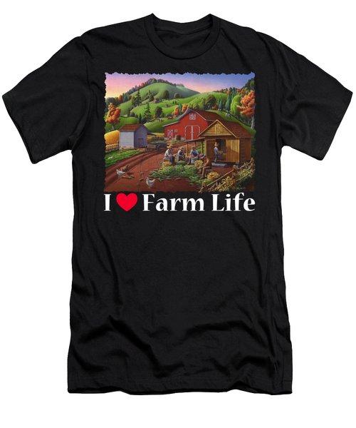 I Love Farm Life Shirt - Farmers Shucking Corn - Corncrib - Corn Crib - Farm Landscape Men's T-Shirt (Athletic Fit)